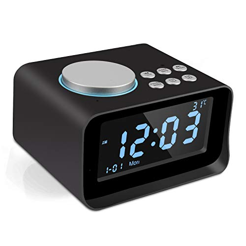 Yabtf Digital Wecker Radio Bluetooth, Radiowecker mit Dual-Alarm MP3-Player, Lautsprecher, Aux/TF, FM-Radio and Temperatur und Große LCD-Anzeige 1 USB-Ladeanschluss(1.1A) (Schwarz)