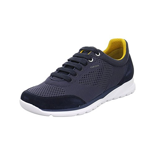 Geox Men U720hb Damian Sneaker Sportiva Da Uomo, Scarpa Stringata, Scarpa Casual, Traspirante, Fondo Bianco Navy