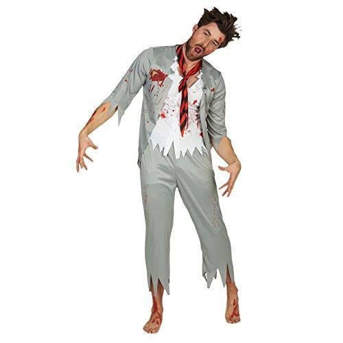 rren Kostüm Horror Halloween 3tlg grau weiß - 46/48 (Halloween Zombie School Girl Kostüm)