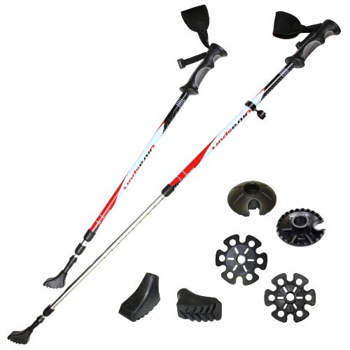 Ultrasport 3 en 1 - Bastón de senderismo, trekking y esquí para todo el año, longitud de 71 cm a 145 cm, con cintas reflectantes 3M, color negro