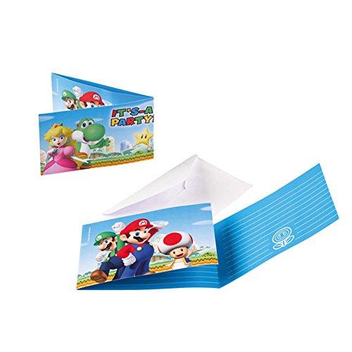 PARTY DISCOUNT Neu Einladungskarten Super Mario, 8 - Mario Verwandte Kostüm