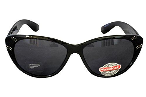 Foster Grant POLIERT BLK FG97 Damen Cat Style Sonnenbrille Schwarz Kunststoff Rahmen Schwarz Gläser 100% UV Schutz CAT 3