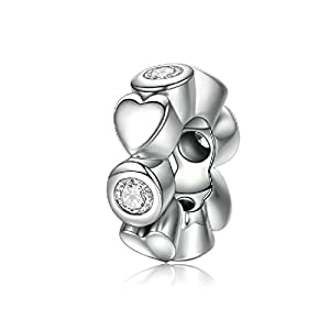 FeatherWish Charm-Anhänger in Herz-Form, Liebesherzen, 925er-Sterling-Silber, Zirkonia, Abstandshalter, geeignet für Pandora-Armband