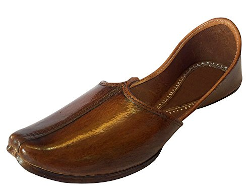 Schritt N Style Panjabi Jooti Casual Khussa Schuhe Indischen Schuhe Rajasthani Jutti Sandalen, Braun - Braun - Größe: 42