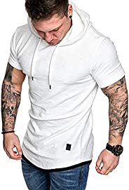 DADKA Men's T-Shirt Slim Fashion Fit Casual Plus Size Short Sleeve Hoodie Top Blouse Summer T-S
