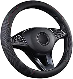 FITS 2005-14 PEUGEOT 107 REAL BLACK LEATHER STEERING WHEEL COVER GREY STITCHING