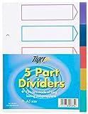 A5 5 Teil Polypropylen-Verteiler mit Index-Deckblatt jeder Satz, (A5 5 Part Polypropylene Dividers with Index Cover Sheet Each Pack)