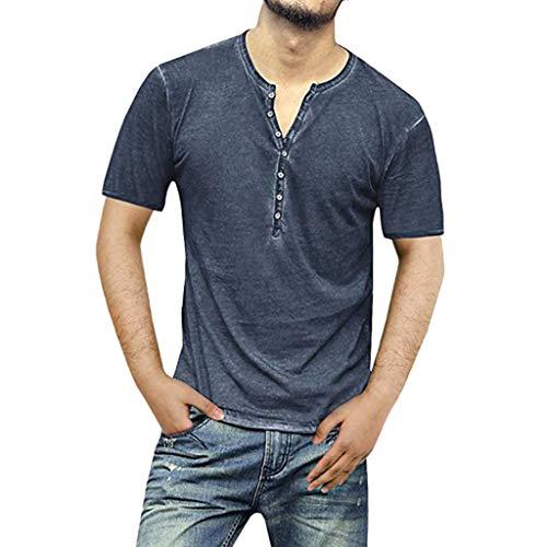 Realde Herren Langarm Hemd und Kurzarm T-Shirt Freizeit Einfarbig Baumwolle Knopf Herren Freizeit Langarmshirt Passt super auch zur Jeans Männer BequemTops Oberteil Größe M-XXXL