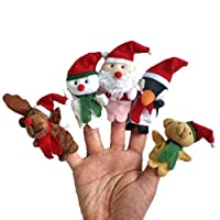 CHENPU Christmas Animal Finger Puppets Toys Kids Children Story Learning Toy Xmas Gift