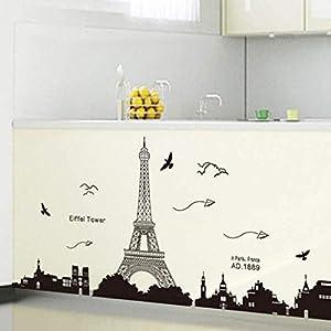 Wandaufkleber, Persönlichkeit Eiffelturm Schlafzimmer Wohnzimmer Esszimmer Fenster Veranda Küche Studie Heimtextilien, Schimmel Und Geruchsneutrale Aufkleber