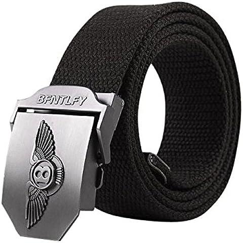 Menschwear Cintura De La Lona De Hebilla De Correa Pretina Tejida Para Hombre Cinturones De Hebilla Automática Metal Ajustables Black