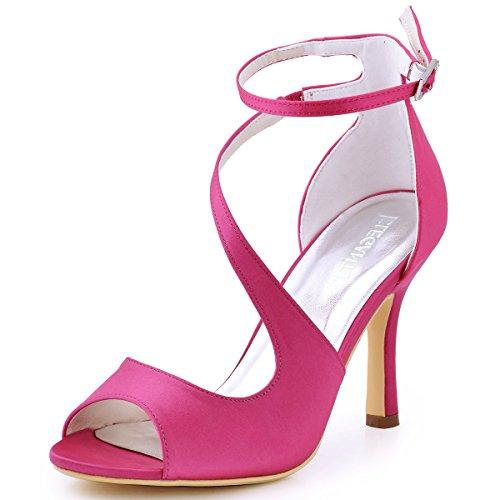 ElegantPark HP1565 Mujer Peep Toe Sandalias Boda Tacón De Aguja Correa De Tobillo Satén Zapatos De Novia Rosa 37