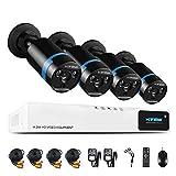 H. View 1080P - Sistema de cámaras de seguridad HD 1080p, cámara exterior tipo bullet de infrarrojos con alcance de 30 m, 8 canales, resolución 1080p, circuito cerrado de videovigilancia con cámaras AHD y DVR, 4 x 1080P , resolución 1080p (NO HDD)