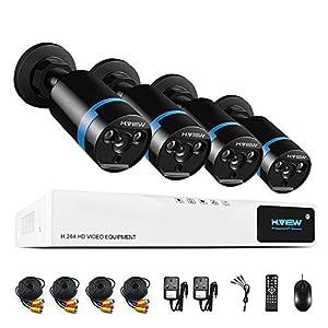sistema de circuito cerrado: H. View 1080P - Sistema de cámaras de seguridad HD 1080p, cámara exterior tipo b...