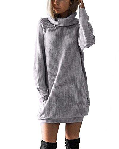 Minetom Damen Grau Elegant Langarm Strickkleid Winter Lang Sweatkleid Kleid Grau DE 34 (Langarm-wickel-pullover)