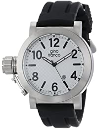 gino franco Men's 9617WT Westside Round Stainless Steel Genuine Leather Strap Watch