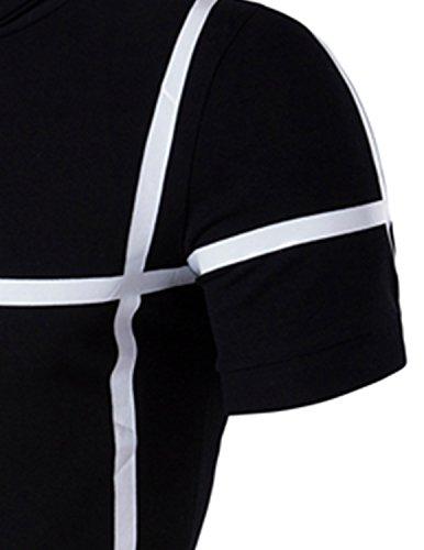 YCHENG Herren Polo Shirt Slim fit Sommer Kurzarm Casual Freizeit T-Shirt Schwarz