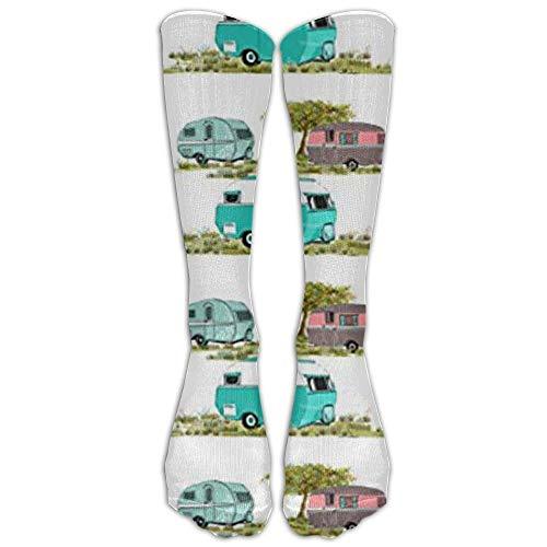 Lets Go Camping Retro Travel Trailers Knee High Graduated Compression Socks For Women And Men - Best Medical, Nursing, Travel & Flight Socks Go Go School Girl