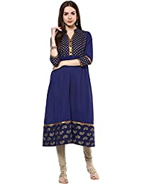 M&D Women's Cotton Gold Print Anarkali Kurti (Blue)