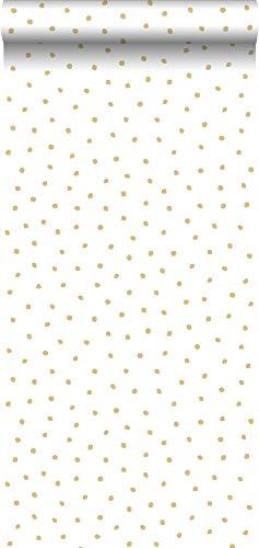Tapete Polka Dots Gold und Weiß - 138937 - von ESTAhome.nl