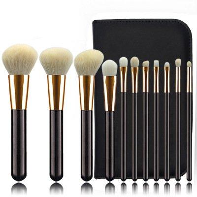 11 Pièces De La Laine Noire Pinceau De Maquillage PU Cuir Zipper Sac Maquillage Fard À Paupières De Haute Qualité Manche en Bois De Maquillage Outil De Beauté Ensemble,1