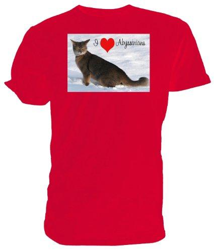 T-shirt, motivo: gatto abissino Abyssinians I Love Rosso (bianco)