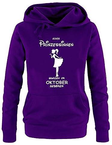 Echte Prinzessinnen wurden im Oktober geboren ! Damen - Mädchen Geburtstag HOODIE Sweatshirt mit Kapuze LILA, (Englisch Wünsche Für Weihnachten)
