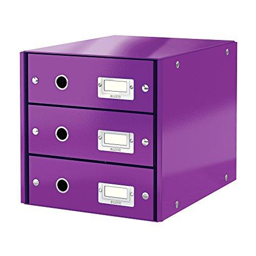 Office Lila-organizer (Leitz, Schubladenbox, Lila, 3 Schubladen, A4, Click & Store, 60480062)