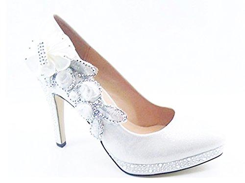 Hochzeit Braut Abend Party Crystal High Heels Damen Schuhe - Weiß, 4 UK (Braut High Heels)