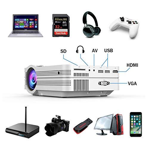 Jasbo WiFi Projektor, Mini Beamer Full HD 2000 Lumen 1080P HD WiFi Beamer Bluetooth Heimkino Kompatibel Wireless 4K Video Beamer mit HDMI VGA USB AV