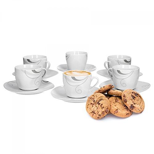 Van Well Portofino 6er Set Kaffeetasse + Untertasse, Kaffee-Set, Rankendekor, edles Marken-Porzellan