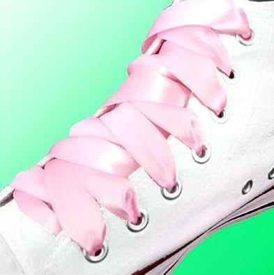 Lacets de chaussures en satin rose pâle