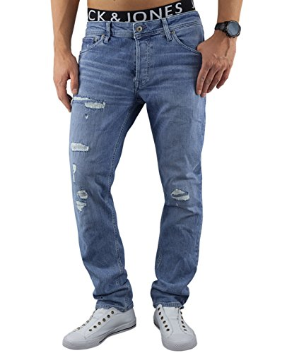 Jack & Jones Herren Jeans / Slim Fit Jeans jjItim jjOriginal Blau (Blue Denim Fit:SLIM jjiTIM 177)