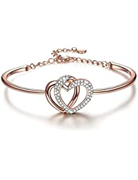 Yellow Chimes Rose Gold Twin Heart with Crystals Bangle Bracelet for Women and Girls