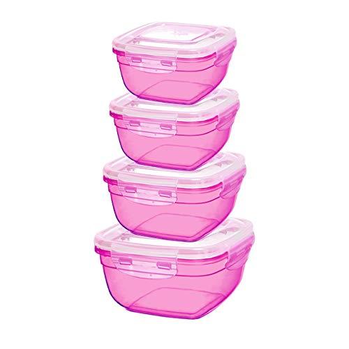 Grizzly set di contenitori salvafreschezza - barattoli con coperchio 100% aria e impermeabile quadrati berry