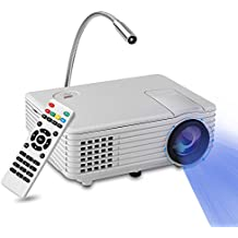 Mini Proyector LED, YOKKAO Videoproyector Portátil LED LCD a todo color con 800 Lúmenes, Proyector multimedia portátil Home Cinema soporta TV / HDMI / USB / VGA + Lamparita LED de regalo (Blanco)