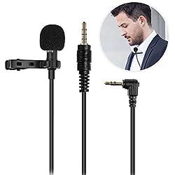 Micrófono de Solapa,UBEGOOD Omnidireccional Micrófono de condensador para Grabación Entrevista Videoconferencia Podcast Dicción de voz Phone