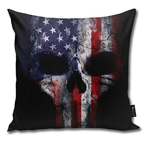 American Flag Punisher Skull Grunge Distress USA Pillowcase Home Life Cotton Cushion Case 18 x 18 inches Flag Case Zubehör