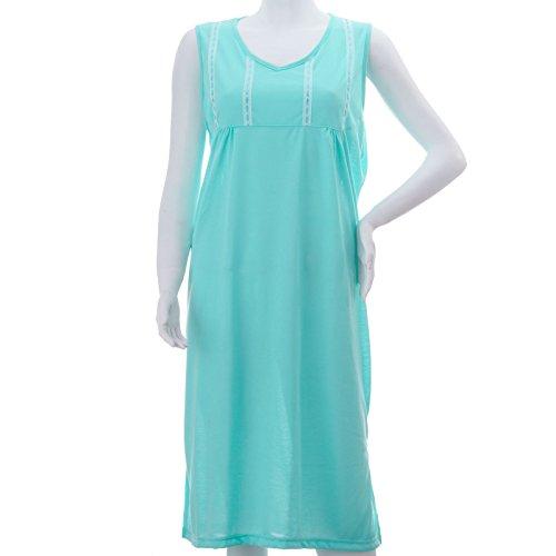 Chemise de nuit incroyablement romesa uni avec larges Turquoise - Turquoise