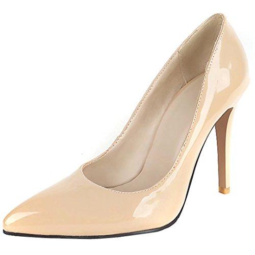 Damen AIYOUMEI Schuhe Lackleder Heels Modern Stiletto Einfarbig Spitz Aprikose Pumps High Herbst Elegant Frühjahr SqBdwq74A