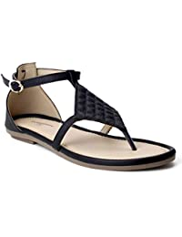 Meriggiare Women Black PU Flat Sandals
