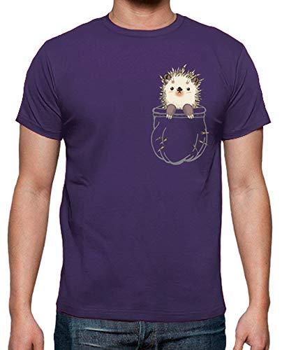 latostadora - Camiseta Erizo para Hombre Morado XXL