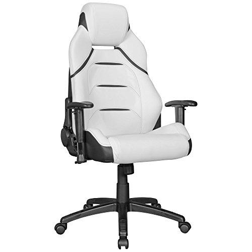 FineBuy chaise de bureau Racing Chaise design ordinateur Gamer Course siège sport  avec repose-tête Fauteuil de direction Gamer   cuir synthétique - blanc avec rayures noires - chaise de jeu 120 kg