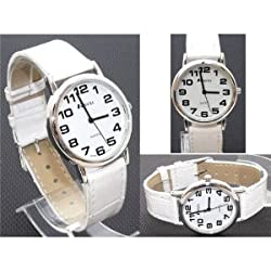 GENTS RAVEL EASY READ WHITE WATCH WITH EXTRA LONG (21cm) WHITE STRAP AND CHROME CASE (R0105.09.1)