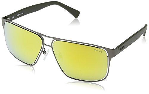 Police Herren S8955 Offside 2 Groß Sonnenbrille, MATT GUNMETAL & DARK GREEN FRAME/GOLD MIRROR LENS