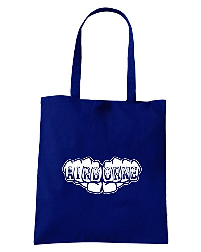 T-Shirtshock - Borsa Shopping FUN0515 airborne fist knuckles tattoo t shirt Blu Navy