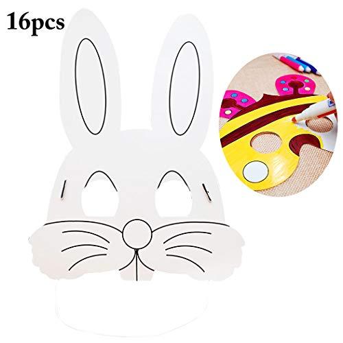 Joyibay 16PCS Kinder Tiermaske Niedliche Einfache Kaninchen Papiermasken für die Oster Party
