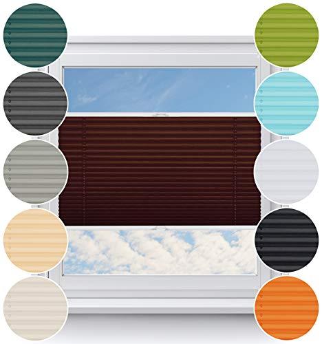 Tenda plissettata per finestra, senza fori, sistema smartfix, facile da montare, protezione solare e privacy, diverse misure e colori disponibili, marrone, breite (b): 100-109; höhe (a): 40-100