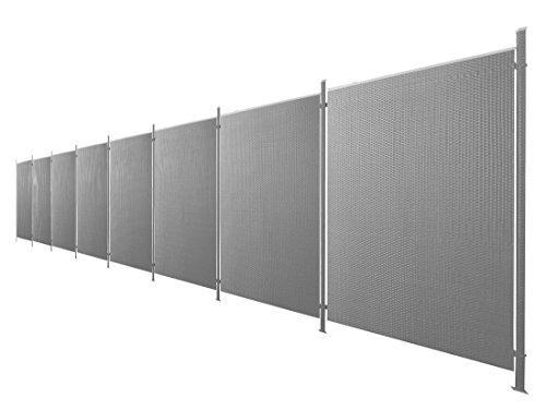 Poly-Rattan Sichtschutz / Zaun-Set 17-teilig anthrazit ca. 1514cm Prime Tech