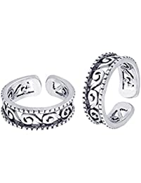 Peora 925 Sterling Silver Whirling Swirl Toe Rings for Women and Girls